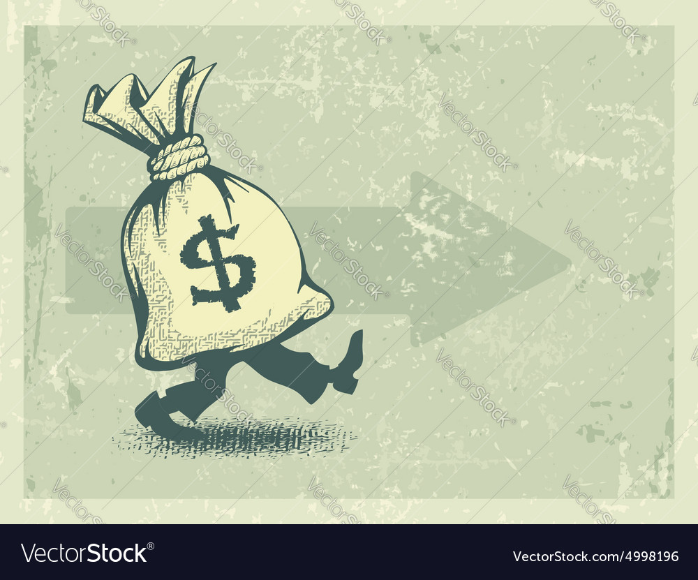 Full sack of money walking vector