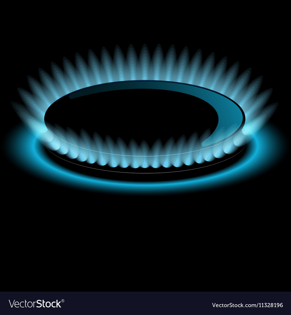 Gas burners blue flame background vector