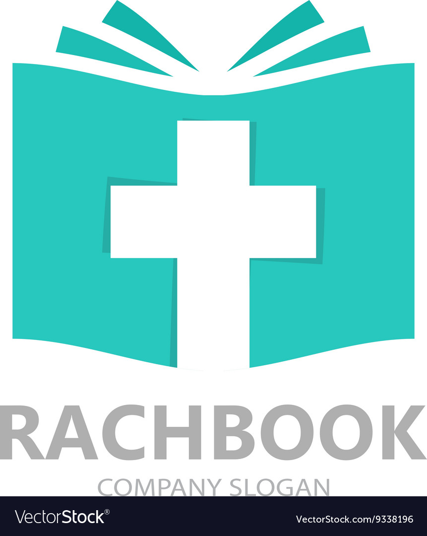 Logo combination of a book and christian vector