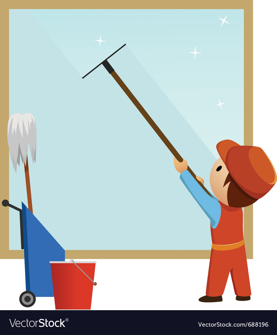 Man cleaning and wash window vector
