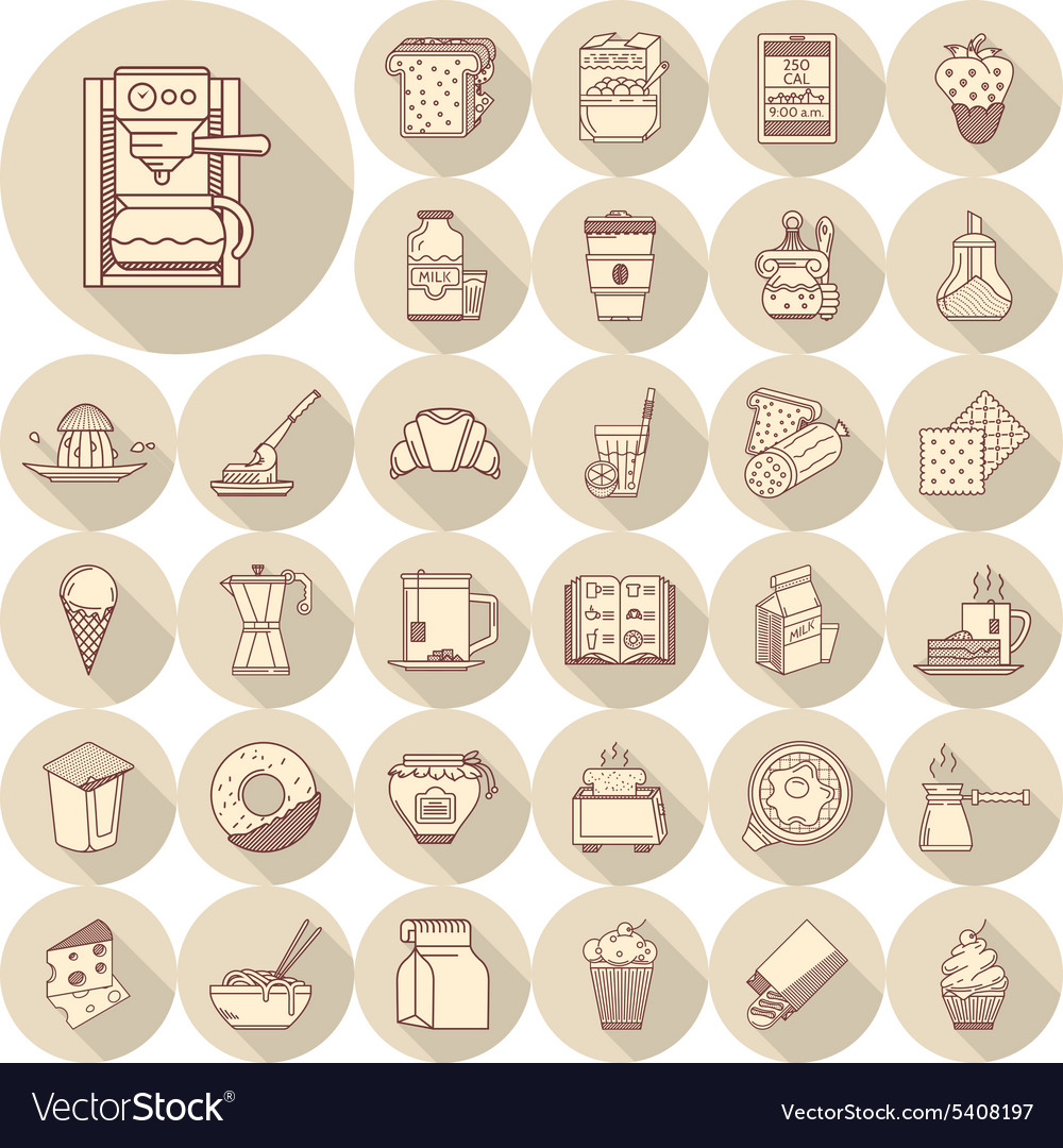 Breakfast line icons big set vector