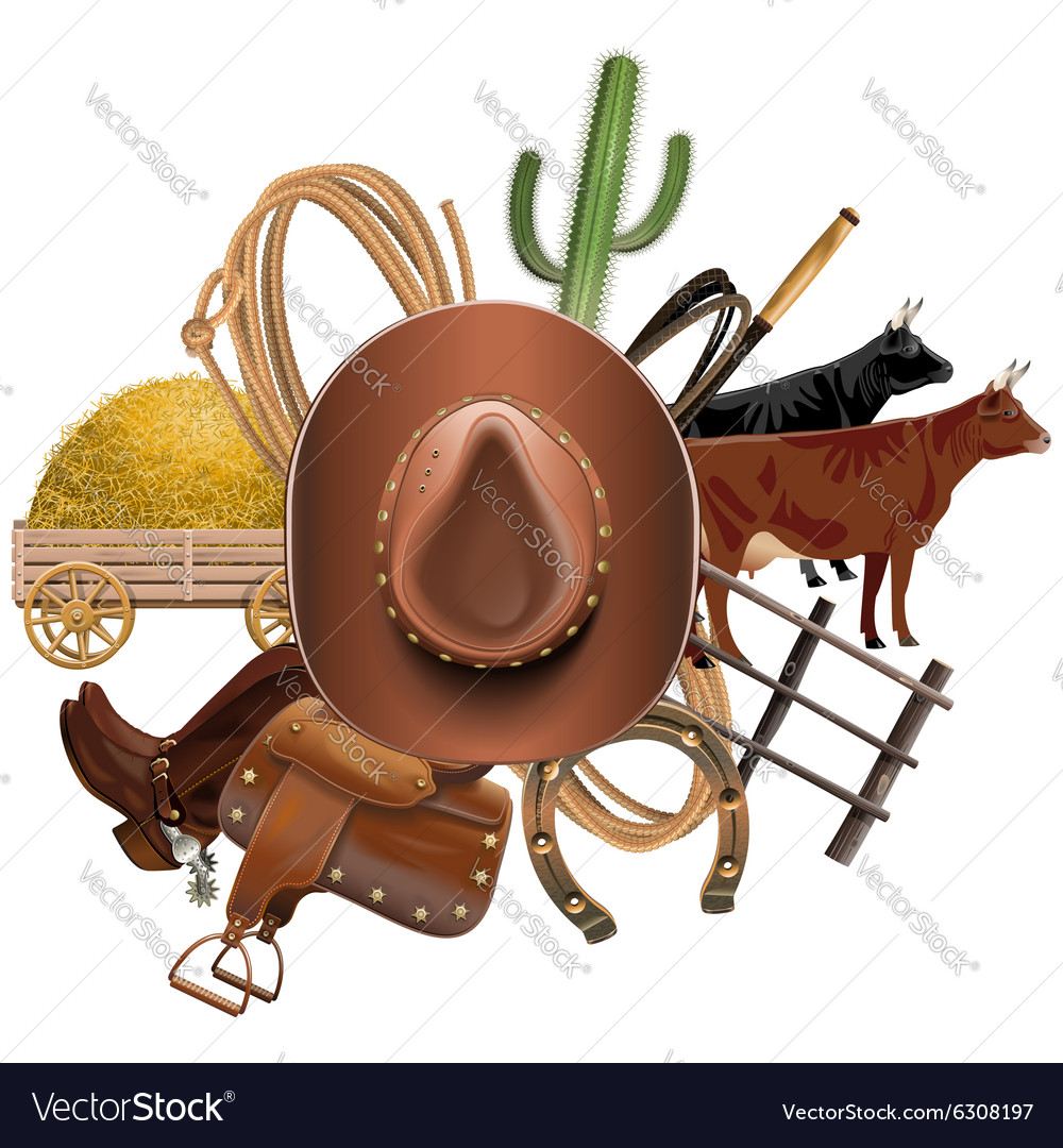 Cowboy ranch concept vector