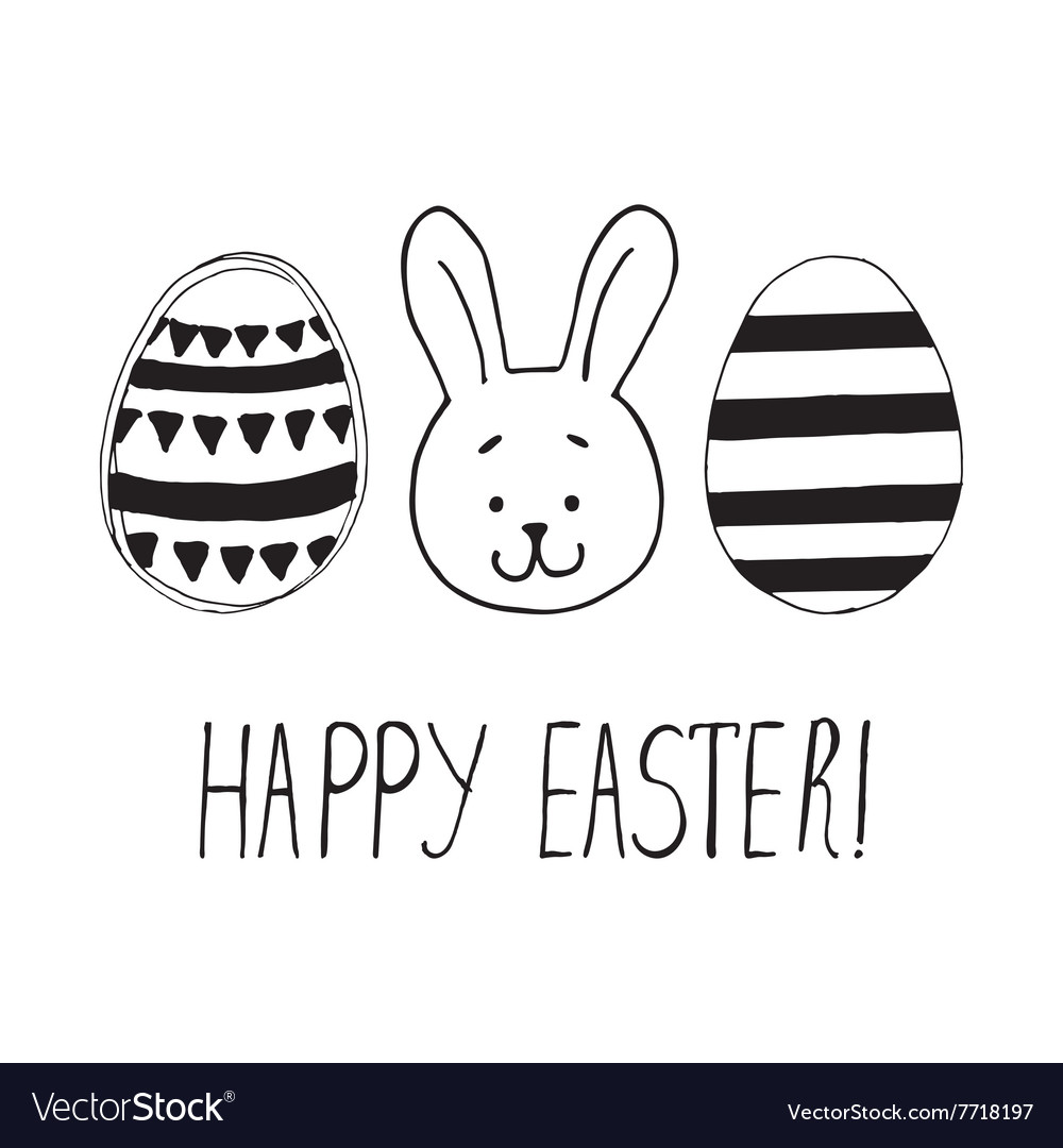 Easter greeting with eggs and bunny face vector