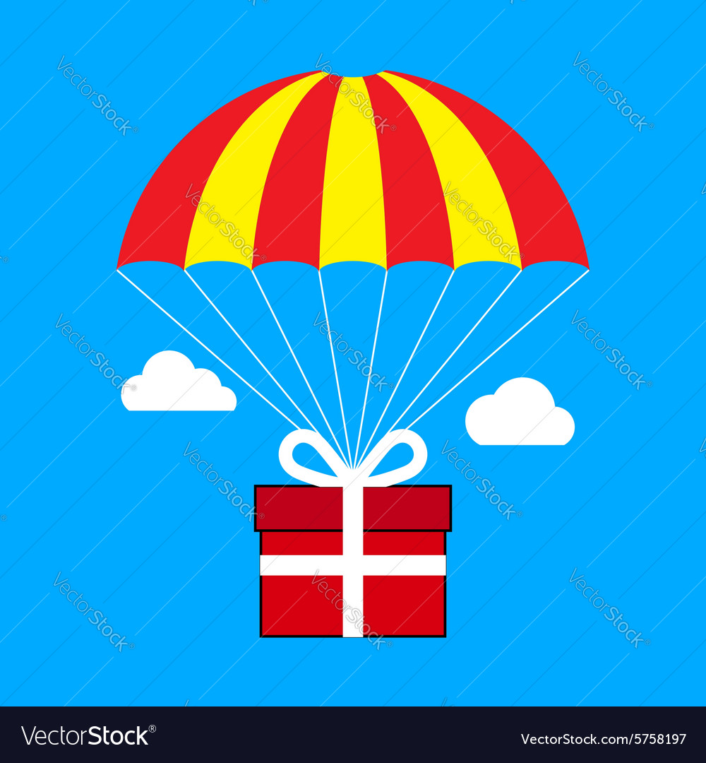 Gift box flying on parachute delivery service vector