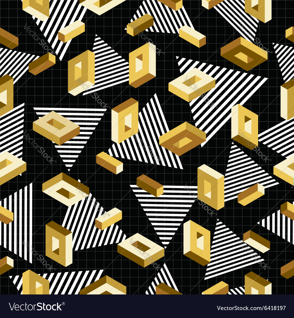Gold seamless pattern retro 80s 3d background vector
