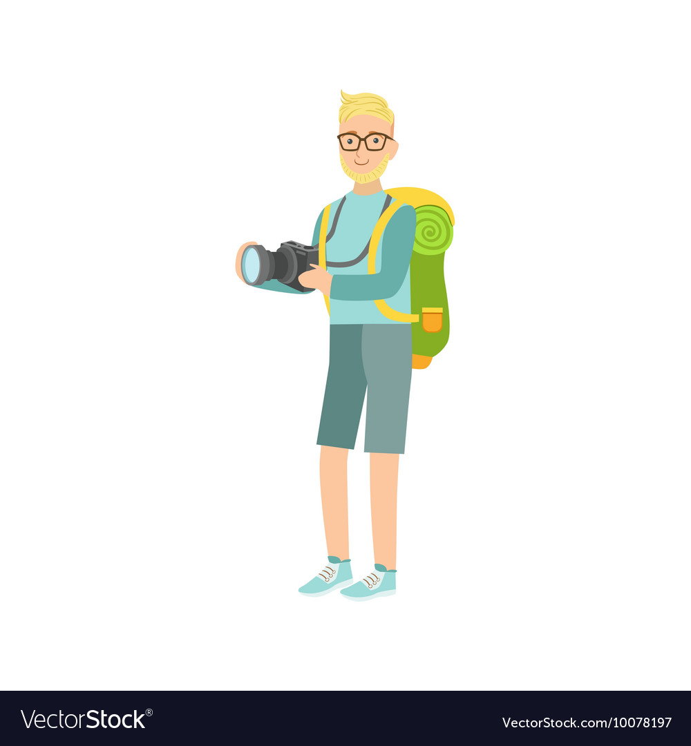 Man with the camera and backpack vector