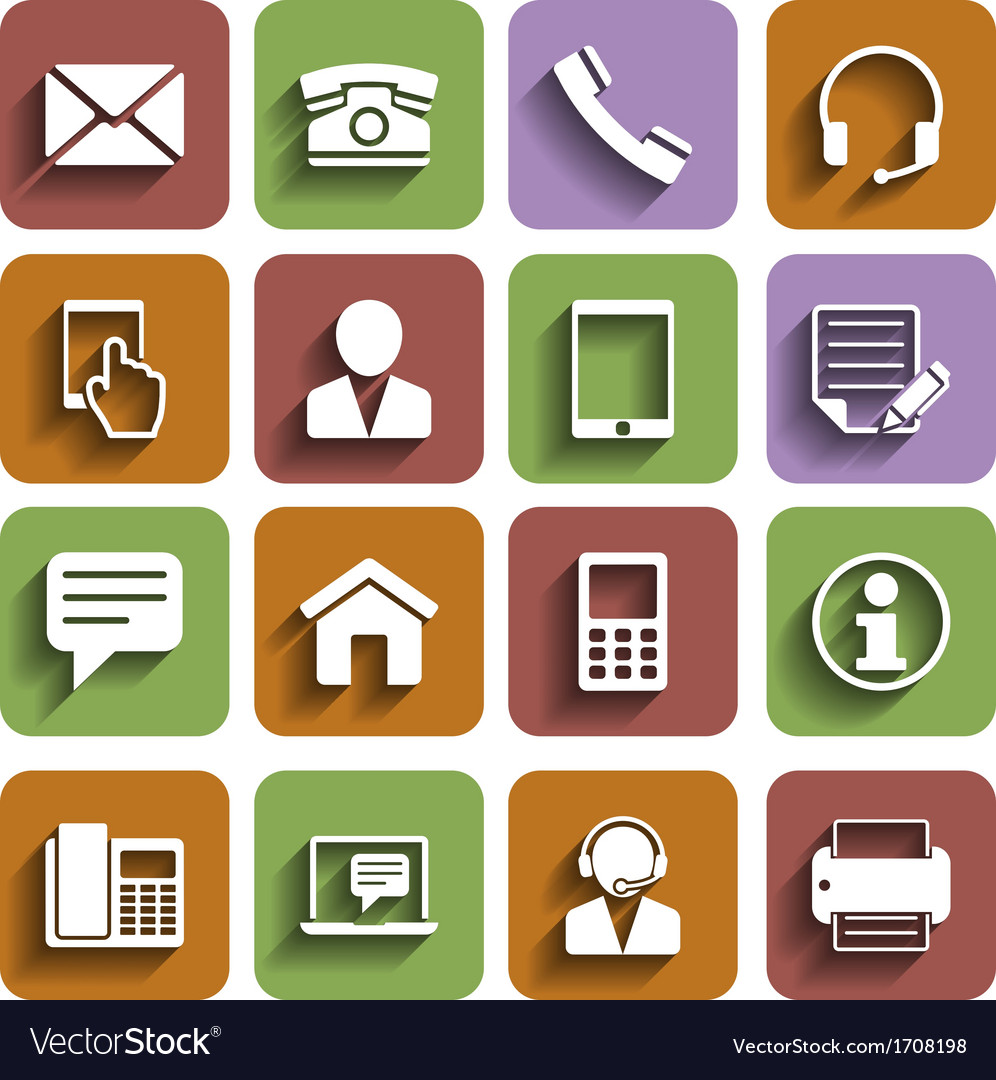 Contact us icons set with shadow vector