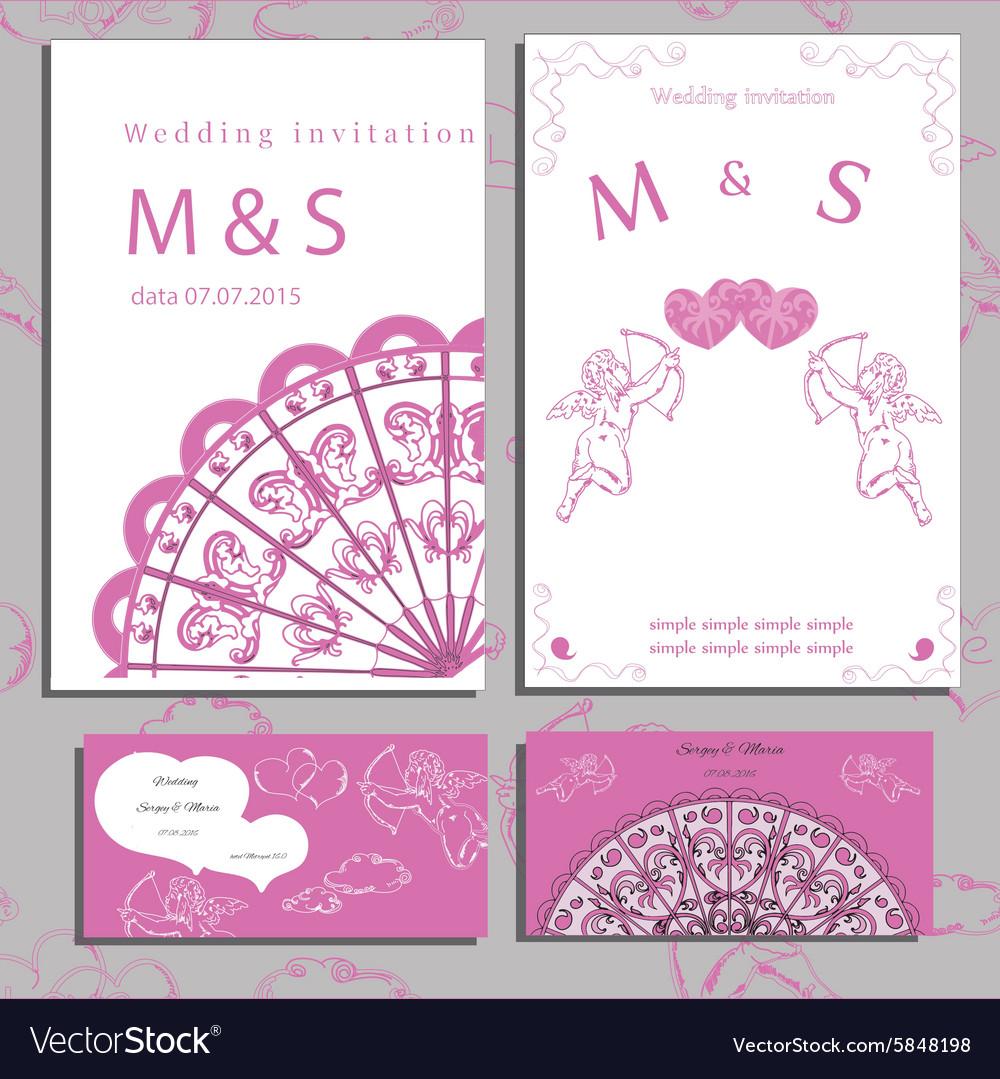 Wedding of set invitation and cards vector