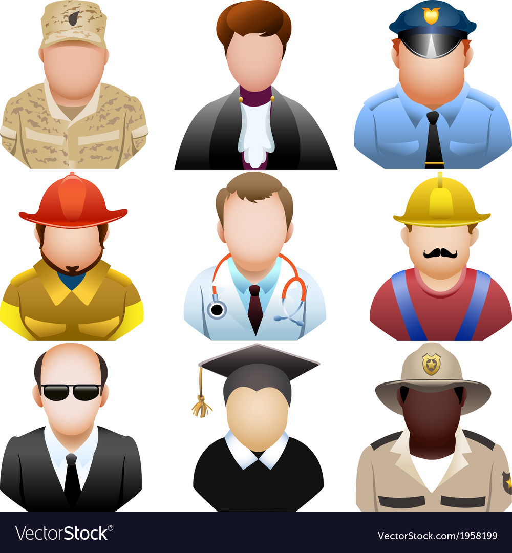 People in uniform icon set vector