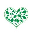 Abstract Green Leaves in A Heart Shape vector image