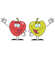 Two Apple Characters Waving vector image vector image