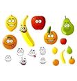 Appetizing fresh cartoon fruits vector image