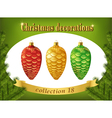 Christmas decorations Collection of red gold and vector image