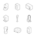 Kitchen gadgets icons set outline style vector image