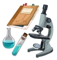 Microscope vials and journal for notes vector image