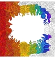 Rainbow flower doodle pattern vector image