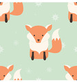 Seamless Merry Christmas pattern with cute fox vector image