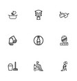set of 9 editable cleaning outline icons includes vector image