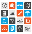 Flat travel trip and tourism icons vector image vector image