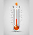 glass thermometer with scale measuring heat vector image
