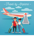 Airplane Travel Active People Girl with Baggage vector image