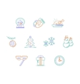 Christmas accessories color line icons set vector image
