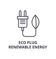 eco plug renewable energy line icon outline sign vector image