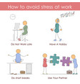 how to avoid stress at work vector image