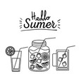 monochrome poster silhouette of hello summer vector image