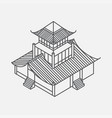 outline isometric pagoda house chinese landmark vector image