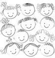 set of kid heads in black color vector image