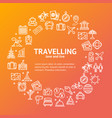 travel round design template line icon concept vector image
