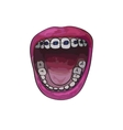 Tooth braces in wide open mouth Cartoon style vector image