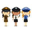 Female police in three different uniforms vector image vector image