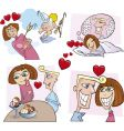 Comic love story vector image