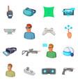 virtual reality icons set cartoon style vector image