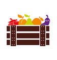 wooden basket with fruits and vegetables vector image
