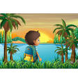 A boy with a bag watching the sunset vector image