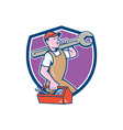 Mechanic Carrying Spanner Toolbox Crest Cartoon vector image vector image
