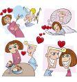 Comic love story vector image
