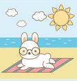 cute hare sunbathing kawaii rabbit on the beach vector image