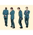 Poses of a walking human thinking vector image