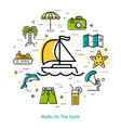 walks on the yacht - round line concept vector image