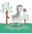 zebra animal caricature in forest landscape vector image