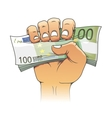 Euro banknote in people hand vector image