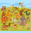 cartoon cute dogs group vector image vector image