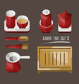 vintage chinese tea utensil collection vector image