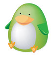thick green toy penguin isolated on a white vector image