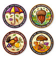 set of seasonal autumn round drink coasters 2 vector image vector image