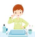 Boy In Pyjamas Brushing His Teeth In Bathroom vector image